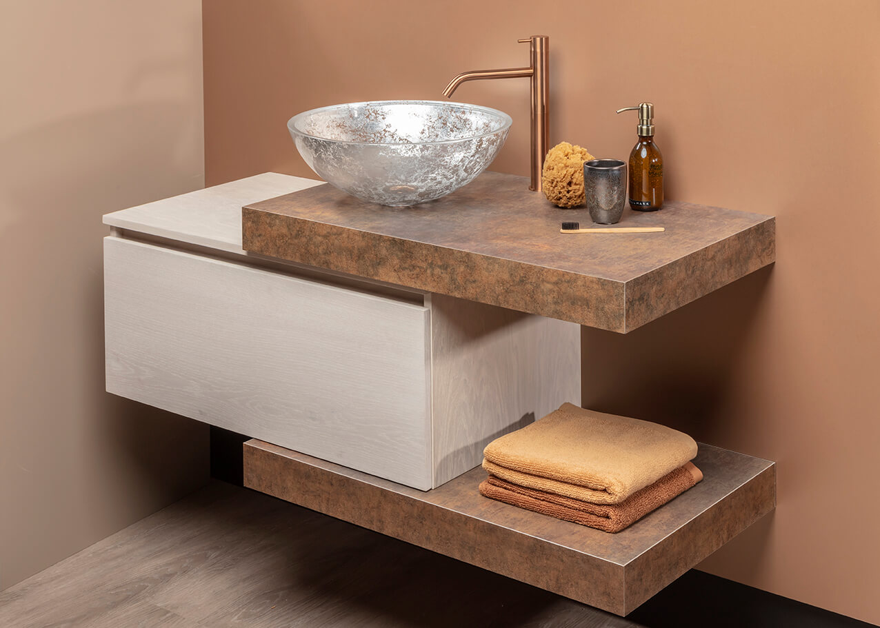 Badkamer badmeubel Qisani Allasio met opbouwkom Glassdesign