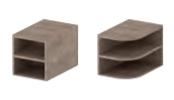 regaal rond en vierkant hout